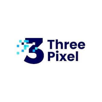 Ilustração de ícone de vetor de logotipo digital de 8 bits com marca de três pixels de três números