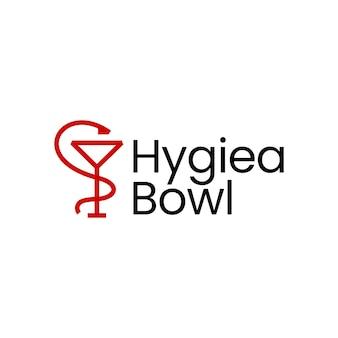 Ilustração de ícone de vetor de logotipo médico de farmácia hygiea tigela
