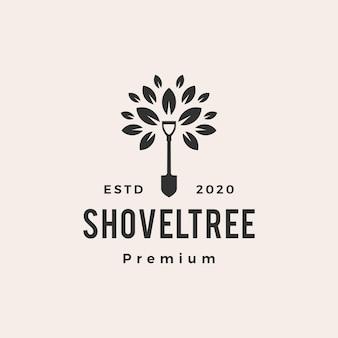 Ilustração de ícone de vetor de logotipo vintage de folha de árvore com pá