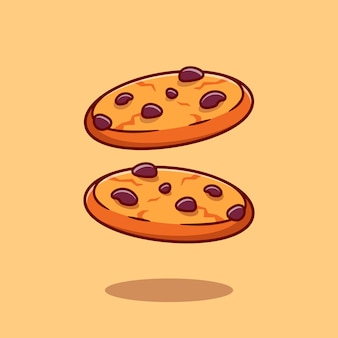 Ilustração de ícone dos desenhos animados de cookies de chocolate. conceito de ícone de lanche alimentar isolado. estilo flat cartoon