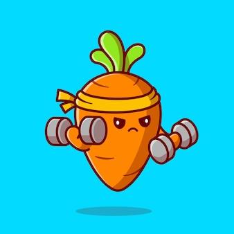 Ilustração de ícone dos desenhos animados de haltere de levantamento de cenoura bonito.