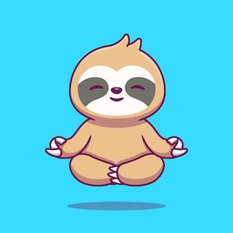 Ilustração de ícone dos desenhos animados de ioga de preguiça bonito.
