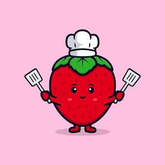 Ilustração de ícone plana de personagem chef morango fofo