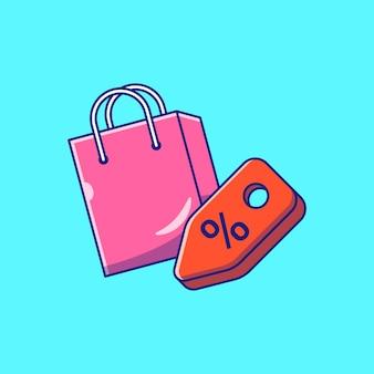 Ilustração de ícone plano de sacola de compras voadora e etiqueta de desconto isolada