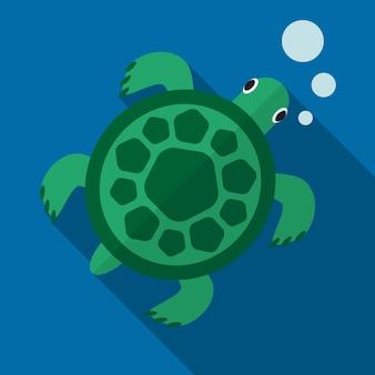 Ilustração de ícone plano de tartaruga marinha isolada símbolo de sinal vectro