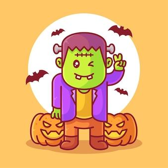 Ilustração de ícone vetorial de logotipo de halloween fofo frankenstein e abóboras em estilo simples