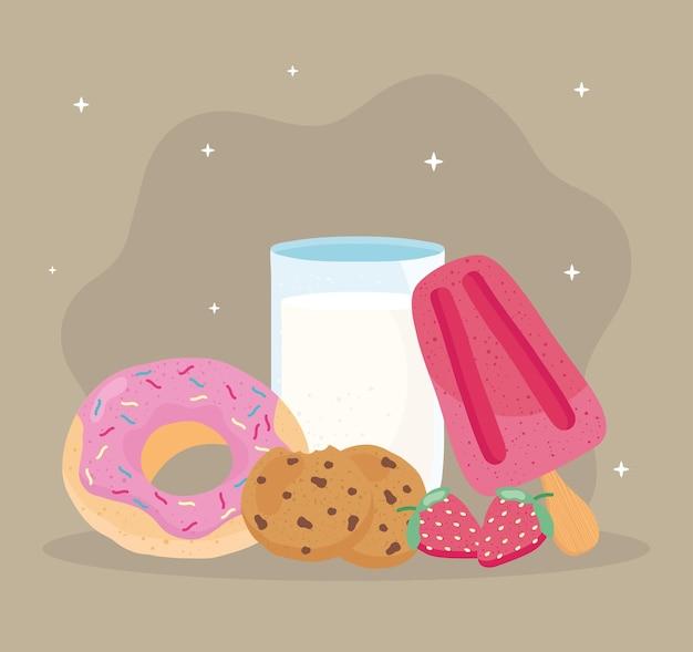 Ilustração de ícones de alimentos e leite fresco e delicioso