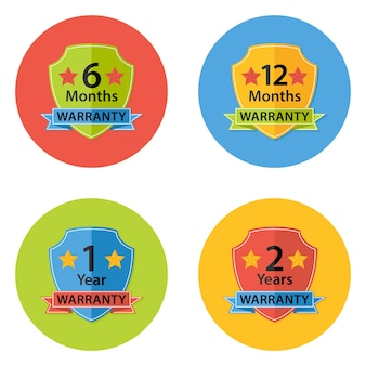 Ilustração de ícones de círculo plano de garantia conjunto 3 com sombra. 6 meses, 12 meses, 1 ano, 2 anos.