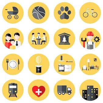 Ilustração de ícones de círculo plano de interesses de pessoas definidos sobre amarelo