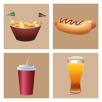 Ilustração de ícones de conjunto de fast food e bebidas