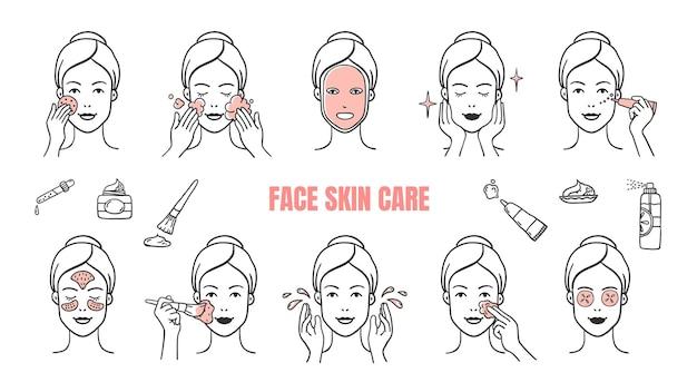 Ilustração de ícones de cuidados com a pele do rosto