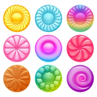 Ilustração de ícones de doces doces duros coloridos.