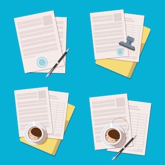 Ilustração de ícones de documentos de escritório