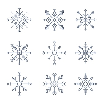 Ilustração de ícones de floco de neve fofo