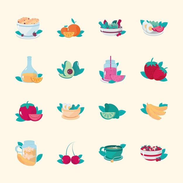 Ilustração de ícones de frutas e vegetais comidas saudáveis café da manhã cereal salada suco