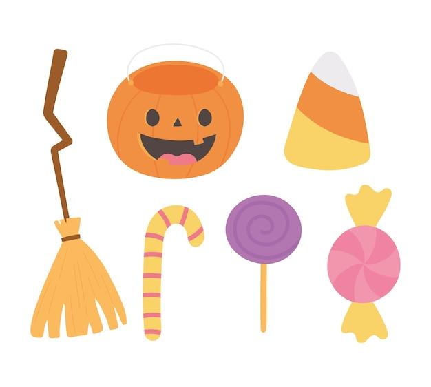 Ilustração de ícones de goma e doces de vassoura feliz halloween