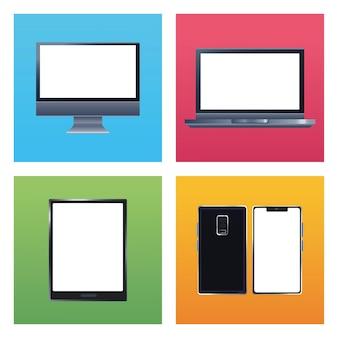 Ilustração de ícones de marca de pacote de cinco dispositivos