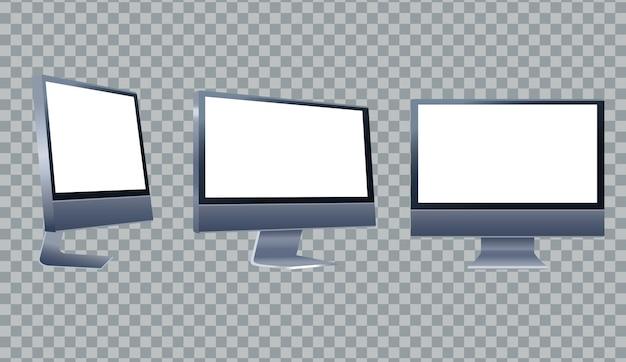 Ilustração de ícones de marca de três dispositivos de desktop