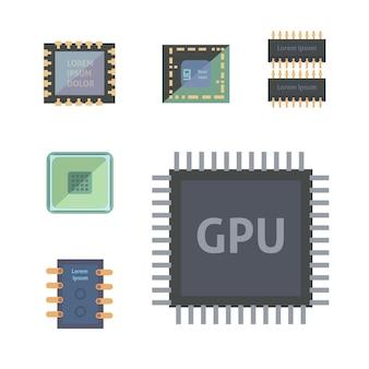 Ilustração de ícones de microprocessador e chips eletrônicos