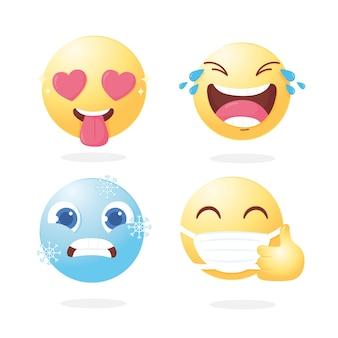 Ilustração de ícones de mídia social de desenho animado de personagem emoji