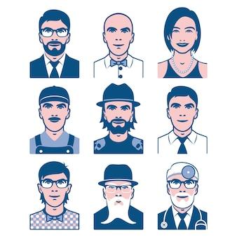 Ilustração de ícones de ocupação e pessoas