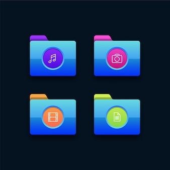 Ilustração de ícones de pasta multimídia