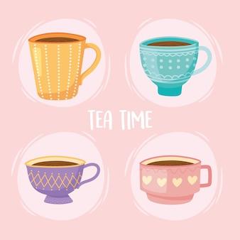 Ilustração de ícones de relaxamento de bebida tradicional chá, xícaras de chá