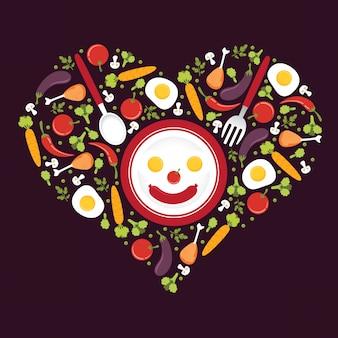 Ilustração de ícones de vegetais com forma de amor