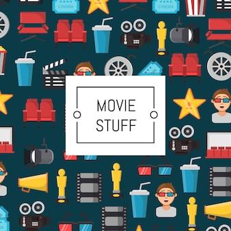 Ilustração de ícones do cinema plana