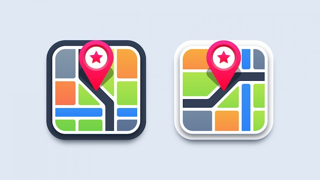 Ilustração de ícones do mapa
