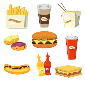 Ilustração de ícones plana de refeições e bebidas de fast food.