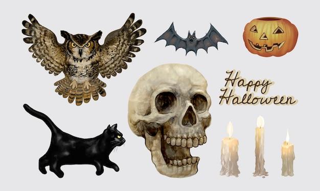 Ilustração de ícones temáticos de halloween