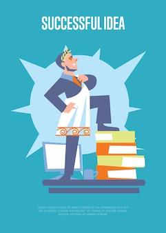 Ilustração de ideia bem sucedida com empresário