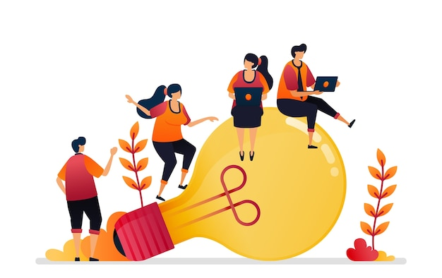 Ilustração de ideia e inspiração, procurando a solução de problemas com conhecimento de brainstorming