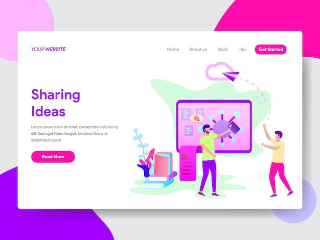 Ilustração de idéias de compartilhamento de estudante para páginas da web