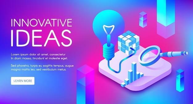 Ilustração de idéias inovadoras de lâmpada ou lâmpada para marketing digital