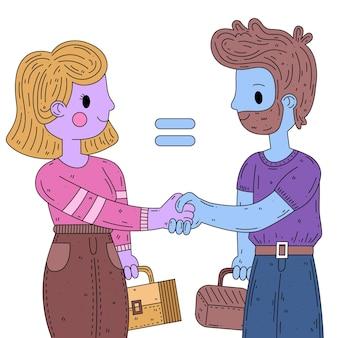 Ilustração de igualdade de gênero