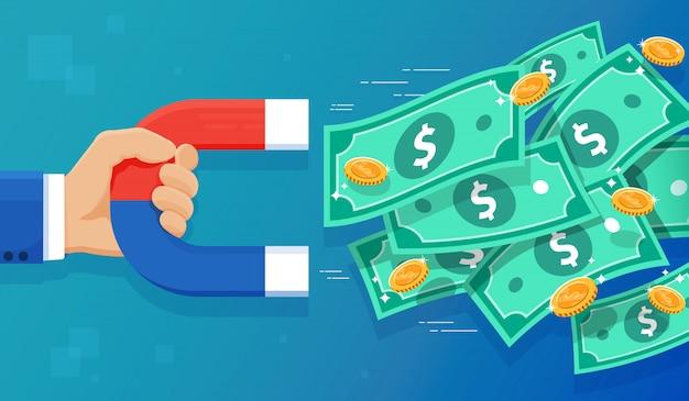Ilustração de ímã e dinheiro