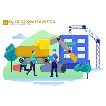 Ilustração de imóveis em construção de construção civil