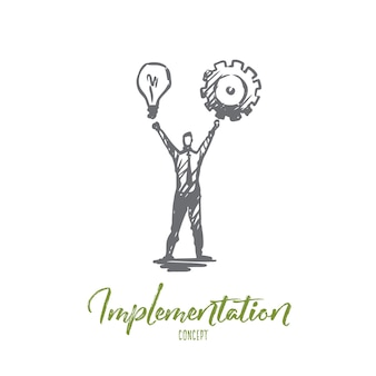 Ilustração de implementação desenhada à mão