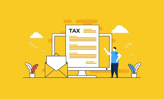 Ilustração de imposto on-line