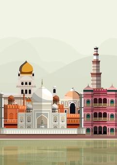 Ilustração, de, indianas, marcos