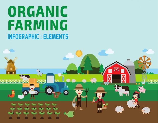 Ilustração de infográfico de agricultura.