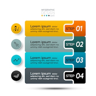 Ilustração de infográficos de 4 etapas.