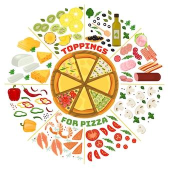 Ilustração de ingredientes de cobertura de pizza.