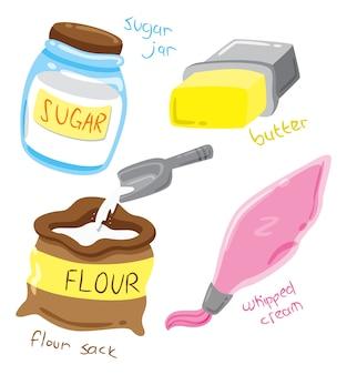 Ilustração de ingredientes para cozinhar