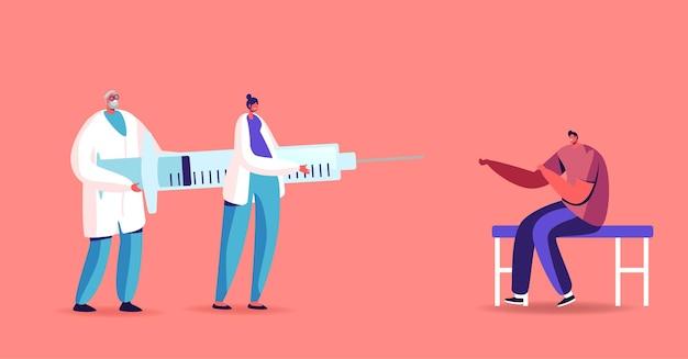 Ilustração de injeção ou vacinação