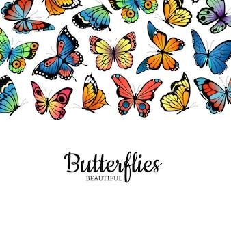 Ilustração de insetos coloridos de borboletas decorativas