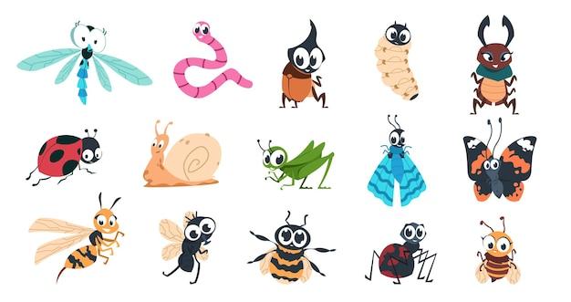 Ilustração de insetos engraçados
