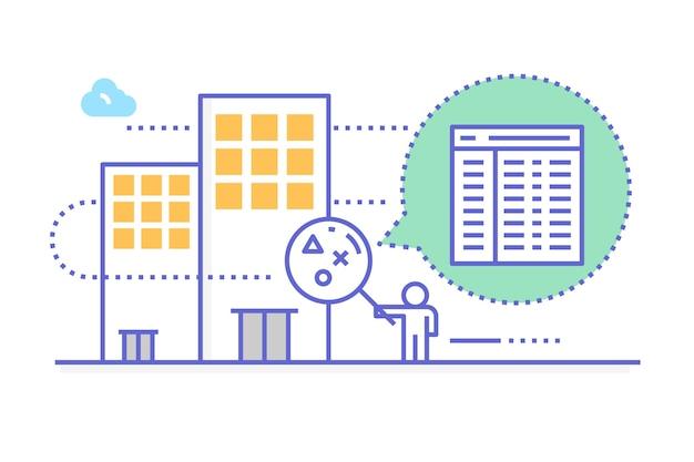 Ilustração de inspeção da empresa